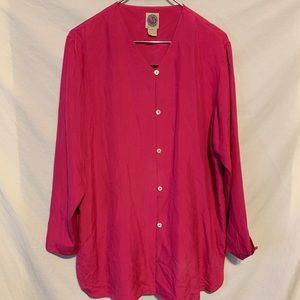 Sans fifth ave large pink silk shirt Flaw 2093